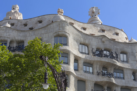 Casa Mila known as La Pedrera - facade with balconies of modernist building designed by Antoni Gaud?, Barcelona, Spain Stock Photo