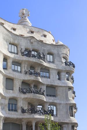 gaud: Casa Mila known as La Pedrera - facade with balconies of modernist building designed by Antoni Gaud?,  Barcelona, Spain Stock Photo