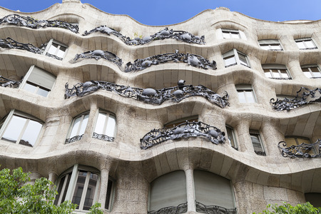 modernist: Casa Mila known as La Pedrera - facade with balconies of modernist building designed by Antoni Gaud?,  Barcelona, Spain Stock Photo