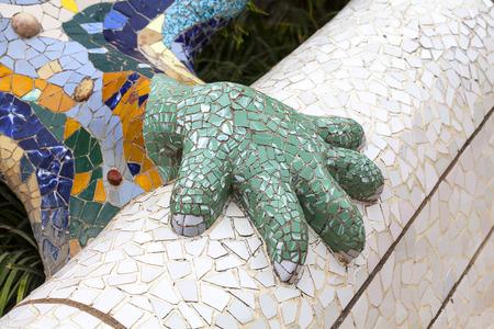 salamandre: Details of Gaudi multicolored mosaic salamander in Park Guell, Barcelona , Spain