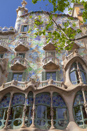 Barcelona, Spain - May 11,2016 :Front of Casa Batllo, Gaudi project . Building redesigned in 1904 by Gaudi located in the center of Barcelona