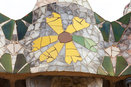 housetop: Barcelona, Spain - May 11,2016 : Casa Batllo,  housetop , chimneys with ceramic mosaic. Building  redesigned in 1904 by Gaudi located in the center of Barcelona