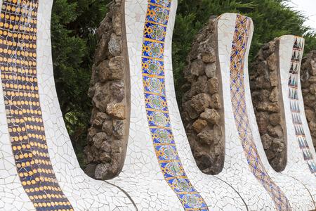 Details von Keramik Gaudi Mosaik im Park Guell, Barcelona, ??Spanien