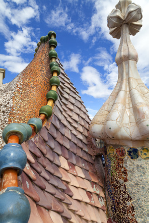 housetop: Casa Batllo,  housetop , details with ceramic mosaic. Building  redesigned in 1904 by Gaudi located in the center of Barcelona