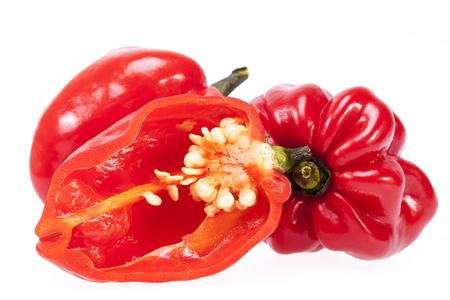 habanero: some vegetable of red chili pepper habanero isolated on white background.