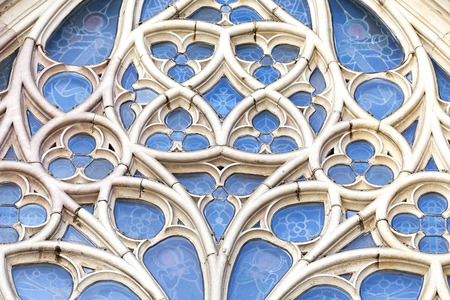 barcelona cathedral: Details of rose window in  Barcelona Cathedral in Gothic Quarter, Spain.
