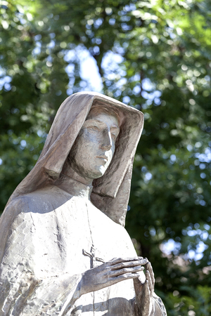 statue of St Faustina  on Altar Three Millennia, Church on Skalka,  Pauline Fathers Monastery, Krakow, Poland. Stock Photo