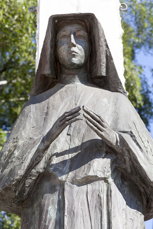 statue of Saint Faustina  on Altar Three Millennia, Church on Skalka,  Pauline Fathers Monastery, Krakow, Poland. Stock Photo