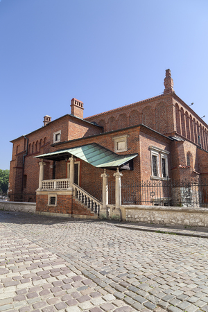 Old synagogue in jewish district of Krakow - Kazimierz on Szeroka street , Poland