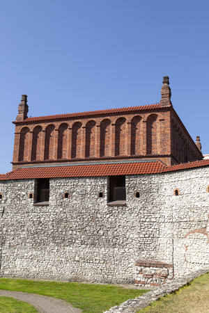 Defensive wall of old synagogue in jewish district of Krakow - Kazimierz on Szeroka street , Poland