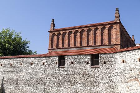 kuzmir: Defensive wall of old synagogue in jewish district of Krakow - Kazimierz on Szeroka street , Poland