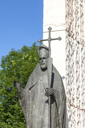 Bronze  statue of  St. Wojciech  on Altar Three Millennia, Church on Skalka,  Pauline Fathers Monastery, Krakow, Poland Stock Photo
