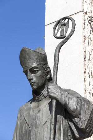 Bronze  statue of  St. Stanislaus  on Altar Three Millennia, Church on Skalka,  Pauline Fathers Monastery, Krakow, Poland