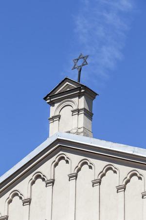 kuzmir: Star of David on top of Tempel Synagogue in jewish district of Krakow - Kazimierz, Poland Stock Photo