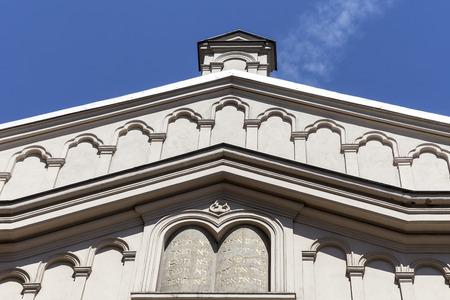 kuzmir: Details of facade of Tempel Synagogue in jewish district of Krakow - Kazimierz, Poland
