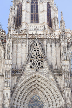 barcelona cathedral: Details of Barcelona Cathedral in Gothic Quarter, Spain Stock Photo