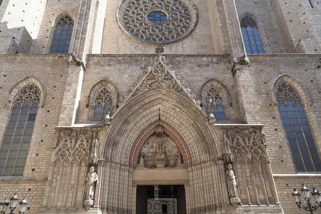 Facade of Catalan Gothic church Santa Maria del Mar, Barcelona, Spain.