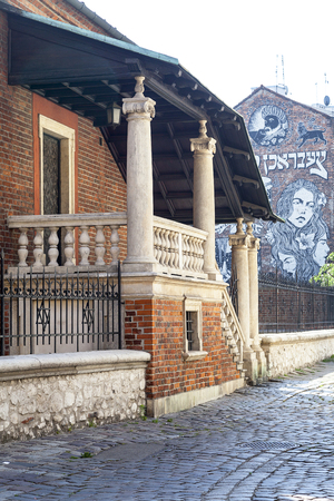 KRAKOW, POLAND - JUNE 24, 2016 : Old synagogue in jewish district of Krakow - Kazimierz on Szeroka street. Old Synagogue is an Orthodox Jewish synagogue ,it is one of the oldest synagogues in Poland and one of the most valuable monuments of Jewish sacral  Stock Photo