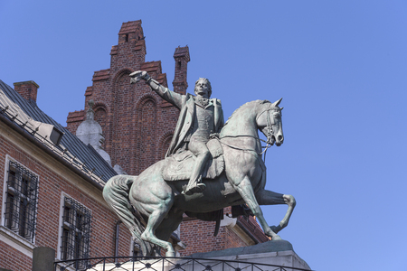 Statue of Tadeusz Kosciuszko bronze monument on Wawel Royal Castle, Krakow, Poland