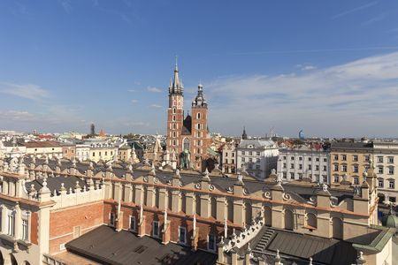 Aerial view of the Main  Market Square with St. Marys Basilica, Old Town, Krakow, Poland Stock Photo