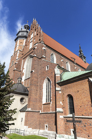 gothic build: Roman catholic 14th century church,Corpus Christi Basilica in Jewish district Kazimierz, Krakow, Poland