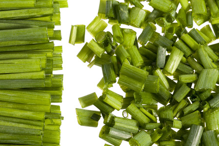 bunch of fresh chives isolated on white background, close up