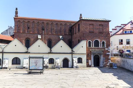 KRAKOW, POLAND - JULY 05, 2016 : Old synagogue in jewish district of Krakow - Kazimierz on Szeroka street. Old Synagogue is an Orthodox Jewish synagogue ,it is one of the oldest synagogues in Poland and one of the most valuable monuments of Jewish sacral  Editorial