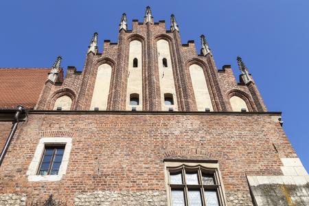 Gothic facade of Collegium Maius, Old Town,  Krakow, Poland. Stock Photo