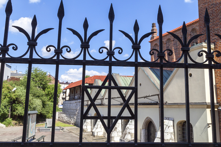 szeroka: Star of David on metal fence of Old Synagogue in jewish district of Krakow - Kazimierz on Szeroka street in Poland