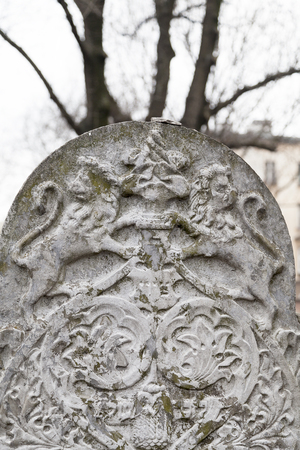 remuh: KRAKOW, POLAND - MARCH 20, 2116 : Tombstone(  matzeva) on Remah Cemetery. Old Jewish Cemetery of Krakow  is an inactive Jewish historic cemetery established in 1535.It is located next to the 16th-century Remah Synagogue. Editorial