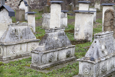 szeroka: Tombs of unidentified people on Remah Cemetery in Jewish district in Krakow on Szeroka street, Poland