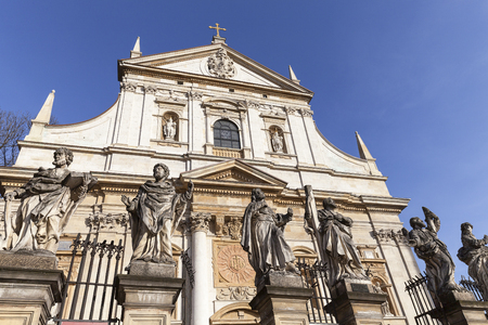 17th century Saints Peter and Paul Church, details of facade, Krakow, Poland Stock Photo