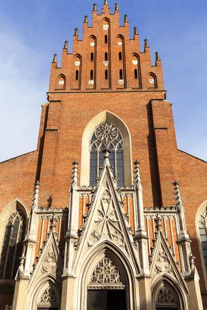 sacred trinity: 13th century Holy Trinity Church , facade, Old Town, Krakow, Poland Stock Photo