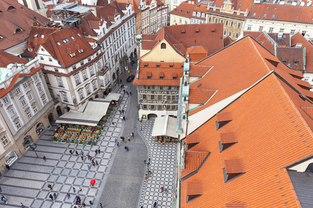 PRAGUE, CZECH REPUBLIC-MAY 01, 2017 : View from Old Town Hall on Prague. Prague is the capital and largest city of the Czech Republic. Situated  on the Vltava river, the city is home to about 1.26 million people