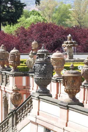 PRAGUE, CZECH REPUBLIC- MAY 03, 2017:Troja Palace , mythical terracotta vases. It is a Baroque palace located in Troja,  Pragues district. Built in the 17th century, currently the palace is owned by the city of Prague