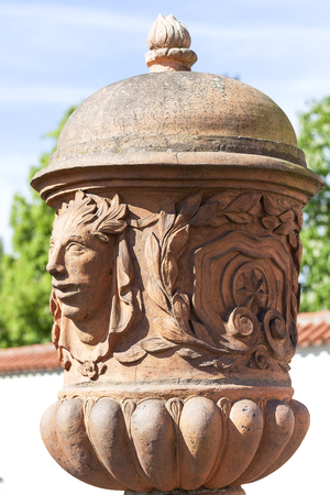 PRAGUE, CZECH REPUBLIC- MAY 03, 2017:Troja Palace , mythical terracotta vase. It is a Baroque palace located in Troja,  Pragues district. Built in the 17th century, currently the palace is owned by the city of Prague Editorial