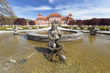 17th: PRAGUE, CZECH REPUBLIC- MAY 03, 2017:Troja Palace ,fountain. It is a Baroque palace located in Troja,  Pragues district. Built in the 17th century, currently the palace is owned by the city of Prague