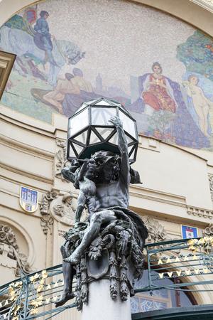 Municipal House, sculpture, mosaic, Prague, Czech Republic Stock Photo