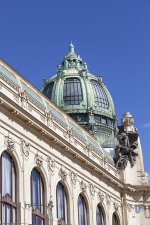Municipal House, sculpture, facade, Prague, Czech Republic