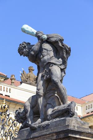 Prague Castle, Hradcany, sculpture at the entrance , Prague, Czech Republic Editorial