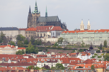 View from Old Town Hall on Prague with Hradcany, Prague Castle , Czech Republic