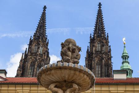 Prague Castle, Hradcany, fountain on the courtyard , Prague, Czech Republic