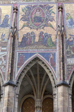 14th century St. Vitus Cathedral , facade, mosaic, Last Judgment, Prague, Czech Republic.  It is a Roman Catholic metropolitan cathedral in Prague, the seat of the Archbishop of Prague. Editorial