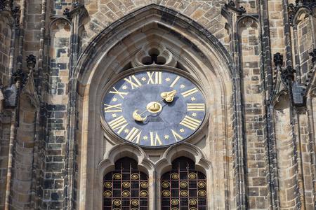 14th century St. Vitus Cathedral , facade, clock,  Prague, Czech Republic Stock Photo