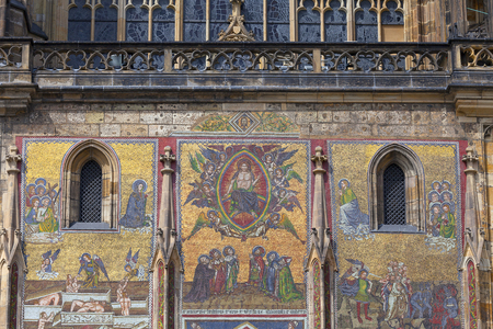 14th century St. Vitus Cathedral , facade, mosaic, Last Judgment, Prague, Czech Republic
