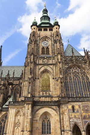 14th century St. Vitus Cathedral , facade, Prague, Czech Republic Editorial