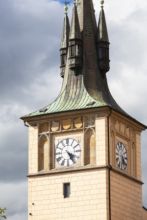 Old Town Water Tower, Prague, Czech Republic. Built in the 16th century over the Vltava river, was used to supply the Old Town fountains with water
