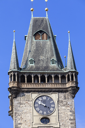 Old Town Hall, clock on tower, Prague, Czech Republic. It is former seat of the municipal authorities of Prague, located in Old Town Square. Stock Photo