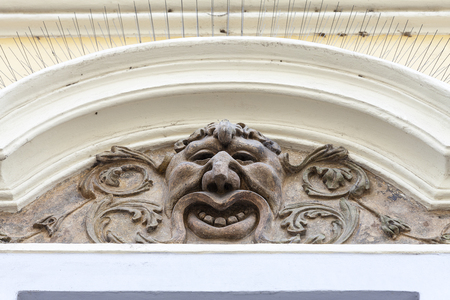 Relief on facade of old building, mascaron ornament, Prague, Czech Republic, Europe Stock Photo
