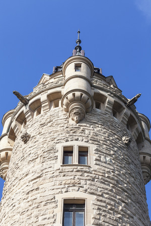 17th century  Moszna Castle, tower with details, Upper Silesia, Poland.It  is a historic castle and residence located in a small village , one of the best known monuments in the western part of Upper Silesia. Editorial